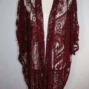 Emerette Lace Shawl with Sleeves and Fringe SZ L